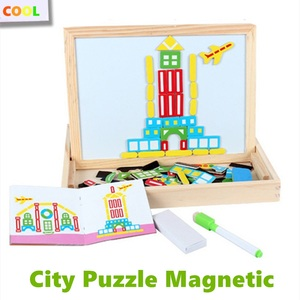 Деревянная двухсторонняя детская сортировка, укладка, рисование, доска для письма, город, магнитная головоломка, развивающая игрушка для де...