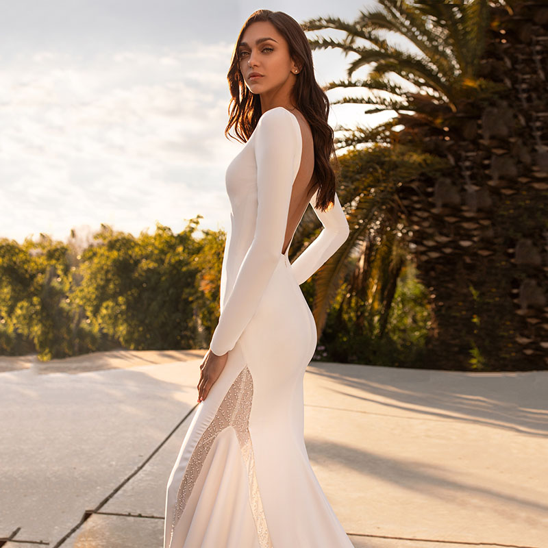 Dlass Batwing Sleeve Wedding Dress Ivory Trumpet Mermaid Wedding Dress Bride Dress Belt Chapel Train 3/4 Sleeve Weeding Gowns
