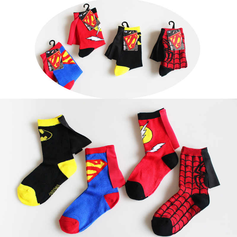 Children's Superman Clothing Cotton Socks 4-6 Years Old Boys Girls Batman Spider-Man Soccer Basketball Socks Autumn Winter Socks