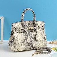 Snakeskin Print Birkin Bag WOMEN'S Bag Genuine Leather Hand WOMEN'S Bag Fashion Glorious Shoulder Bag Brand Customizable Leather