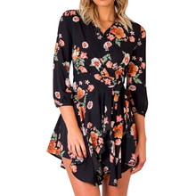 New Fashion Bohemian Style Women Summer Casual Three quarter Sleeve V Neck Bandage Bodycon print Evening Party Short Mini Dress wildpinky bohemian style women summer casual short sleeve v neck spaghetti strap evening party print short mini dress vestidos