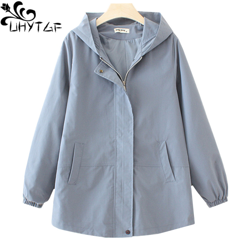 UHYTGF trench coat for women fashion hooded oversized women clothes basic coats casual spring autumn windbreaker womens 4XL 992