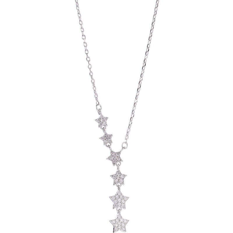 Filluck Genuine 925 Sterling Silver Zircon Shiny Star Pendant Necklace For Women Gift Star Choker Wedding Jewelry Charms
