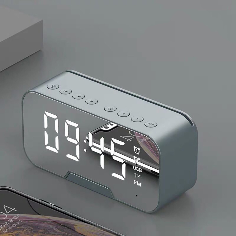 Multifunction Mirror Alarm Clock Bluetooth <font><b>Speaker</b></font> With FM Radio Table Clock LED Mirror Snooze Wireless Music Player Subwoofer image