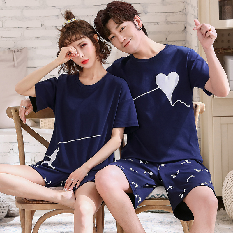 Couple Nightwear Suit Summer Sweet Cute Short Sleeve Pajamas Heart Pattern Homewear Men Plus Size M-3XL Cotton Pijamas Mujer