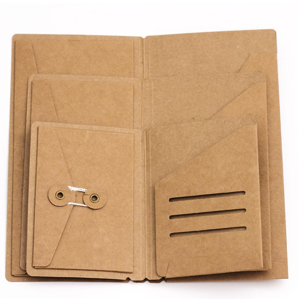 1Pc Portable Kraft Envelope Ticket Receipt Card Package Passport Holder Business Travel Passport Holder Document Organizer