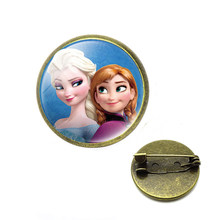 princess children cartoon Brooches Elsa lovely girl gift clothing accessories pins kid make up jewelry(China)