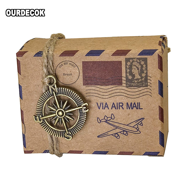 25 Pcs Event Souvenirs Boxes Kraft Travel Theme Air Mail Wedding Favor Gift Box Candy Pack Festive Party Supplies Caja De Regalo