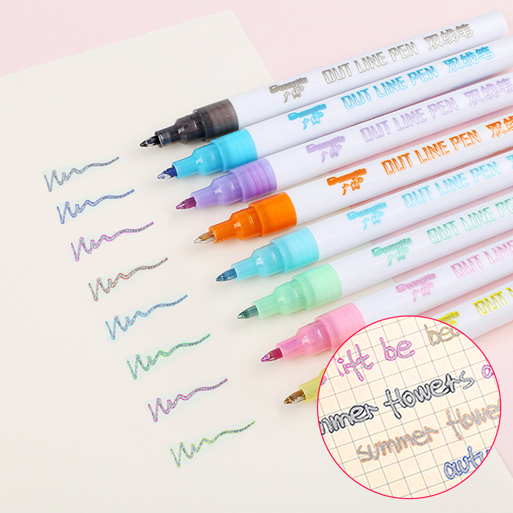 8 Colors Outline Marker Creative Metallic Double Lines Pen Art Markers Drawing Pens For Cards Making Lettering DIY Stationary