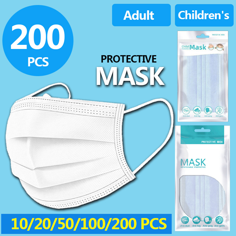 Children/Adult Disposable Mask 3 Layer 10PCS/Bag Elastic Mouth Mask Anti-bacteria Kids Soft Breathable Nonwoven Masks