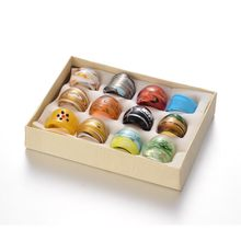 12pcs/box Mixed Color Handmade Lampwork Wide Band Rings about 17~19mm inner diameter F60(China)
