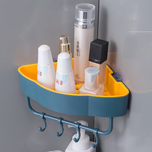 Livre soco parede de canto prateleiras do banheiro prateleira com gancho acessórios do banheiro shampoo chuveiro prateleira titular armazenamento organizador