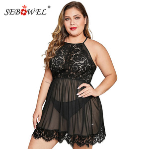 Image 1 - SEBOWEL סקסי בתוספת גודל Sheer Mesh פרחוני תחרה כותנות לילה שמלה + חוטיני נשי גדול ללא משענת חלולה החוצה הלבשת הלבשה תחתונה סטים