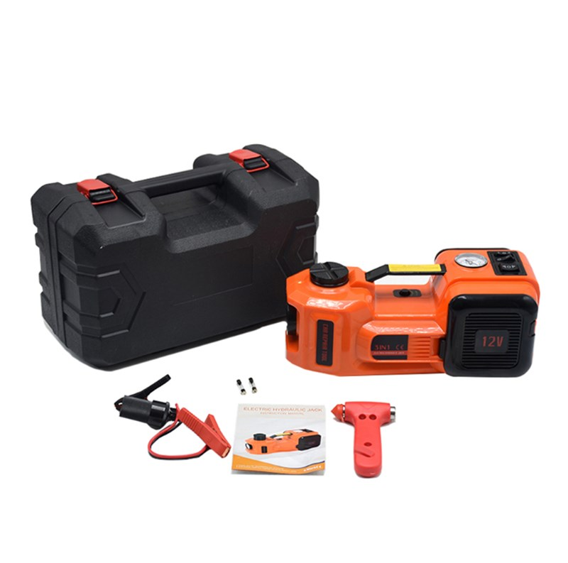 12V 5Ton Car Jack Tire Jack Electric Hydraulic Jack Lifting Jack Car Lift Car Tire Inflator Safety Hammer 3 In 1