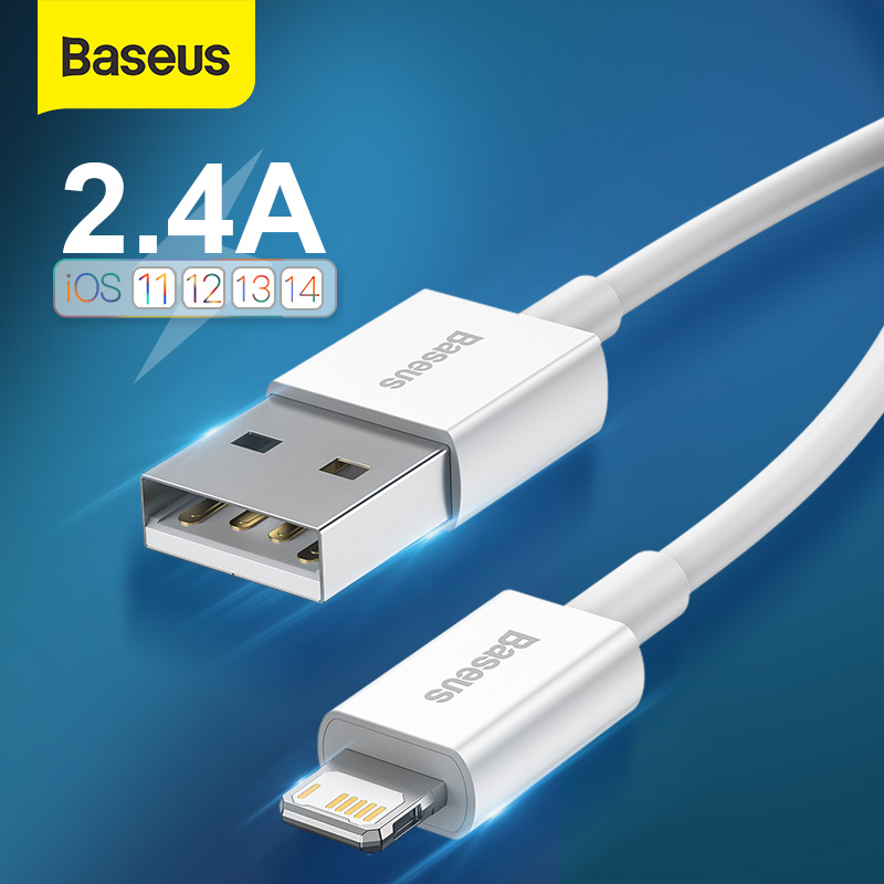 Baseus USB Cable for iPhone 12 Pro Max Phone Charger 2.4A Cable for iPhone 11 Pro 8 XR X 7 Plus Data USB Cable Fast Charge Cable