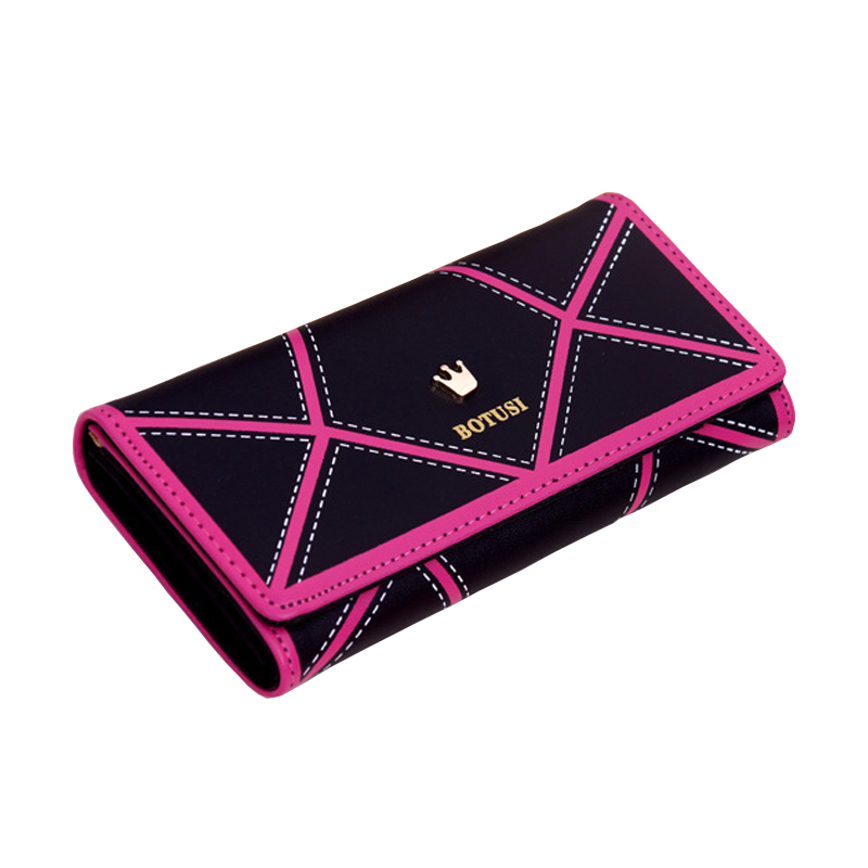 Women's Long Wallet PU Leather Geometric Women's Wallet Crown Color Wallet Phone Bag Holder Clutch Pink Women's Wallet