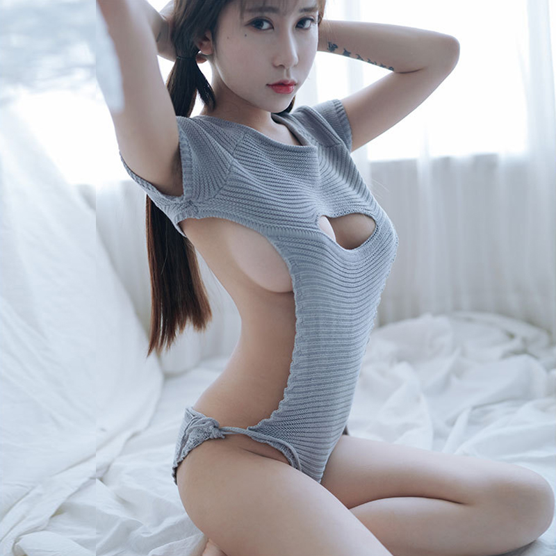 Sexy Women Cosplay Backless Virgin Killer Sweater Bodysuit Bandage Hollow Japanes Knitted Sweaters And Pullovers Anime Cosplay