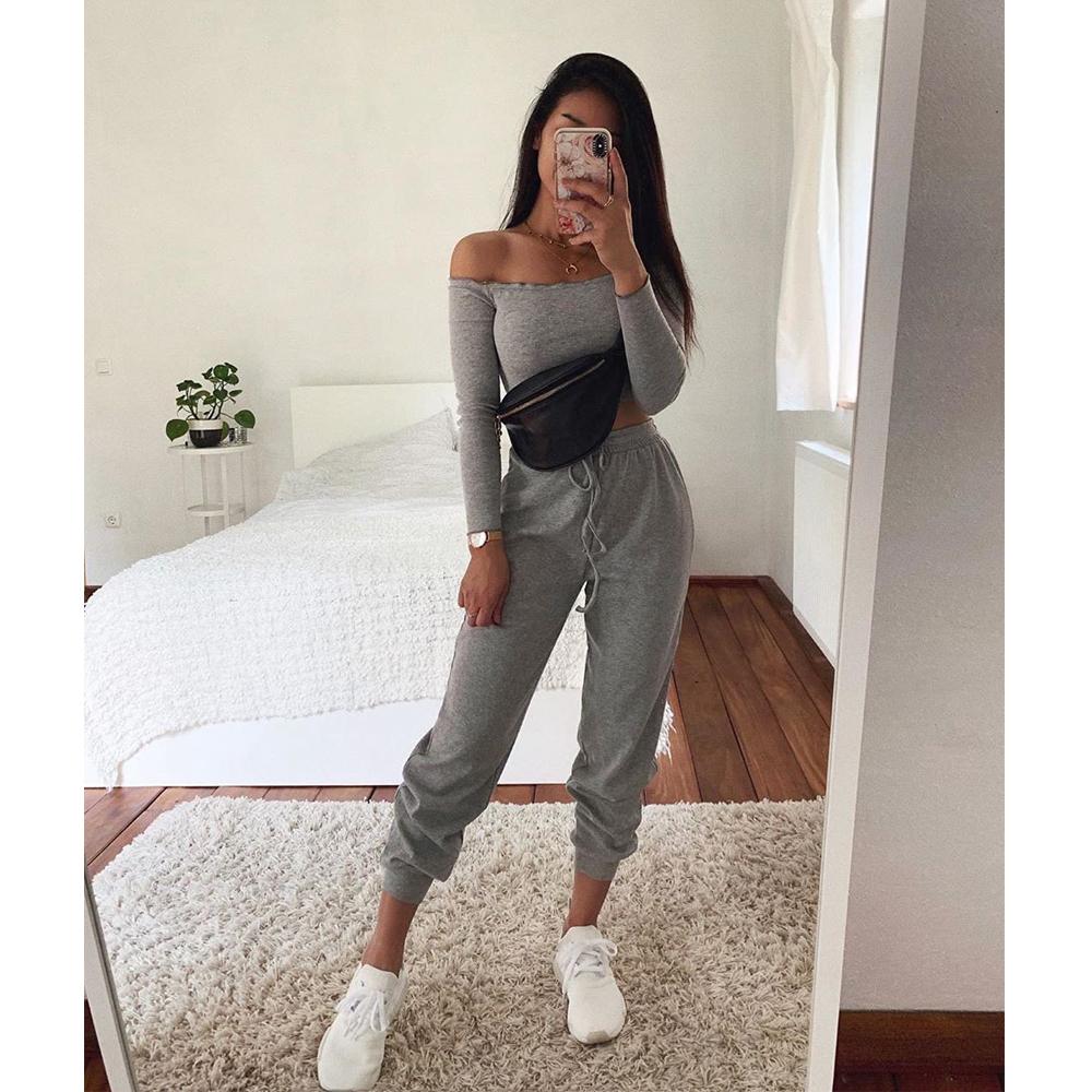 Summer New Women's Wear Collar Shoulder Sports Suit Nine Minute Sleeve Tight Belt Trousers Gray Two Piece Pants