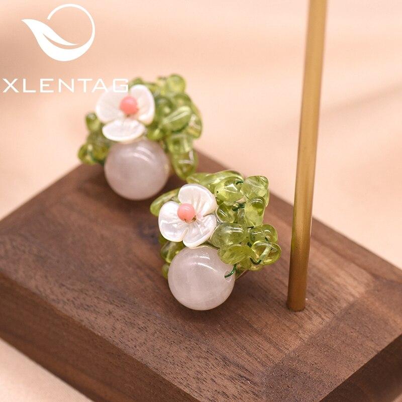 XlentAg Handmade Natural Pink Crystal Women's Stud Earrings Party Gift 925 Silver Stud Earrings Luxury Fine Jewellery GE0607