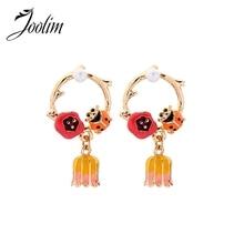JOOLIM High Quality Enamel Ladybug Dangle Earring Romantic Natural Fashion Jewelry