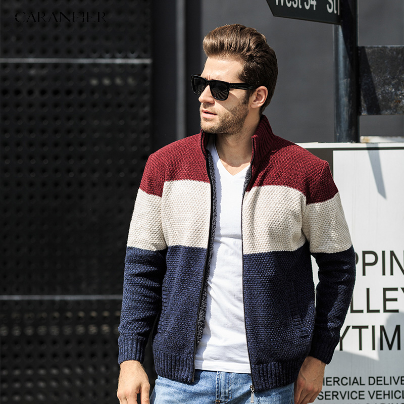 CARANFIER Stripe Winter Sweater Men Cardigan Military Cashmere Sweater Stand Collar Zipper Sueter Hombre Cardigan Masculino 3XL