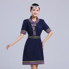 Elegant oriental qipao dresses mogolian style women cheongsam short sleeve embroidered retro pattern Tang suit gown