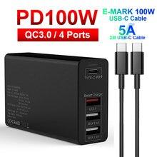 Urvns 100w usb c pd carregador tipo c usb 4 porto estação de carga para samsung iphone huawei qc 3.0 carregador de parede rápida adaptador de energia