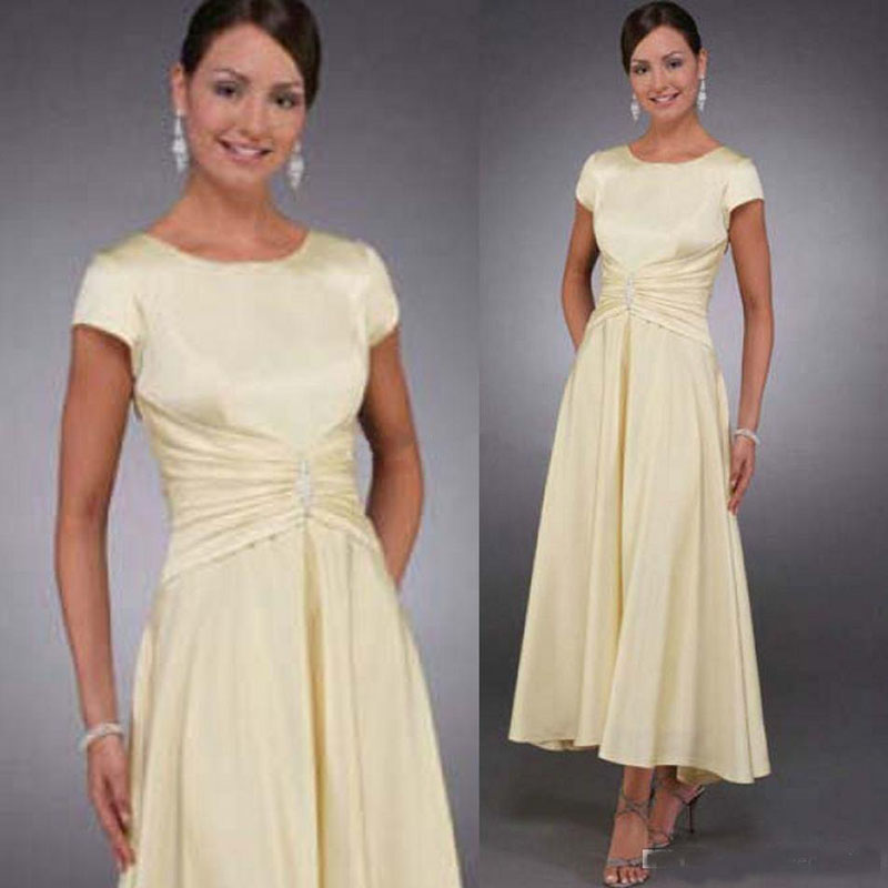Modest Mother Of The Bride Dresses Cap Sleeves Tea Length Wedding Party Dresses Plus Size Mother's Gowns Evening Formal Wear