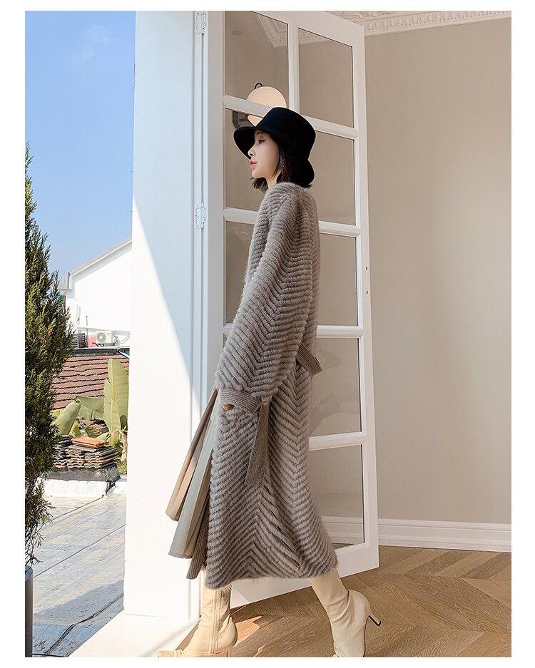 Hca2858da116349939dc92da650ec3767Y HDHOHR 2021 New High Quality Natural Mink Fur Coat Women With Belt Knitted Real MinkFur Jacket Fashion Warm Long For Female