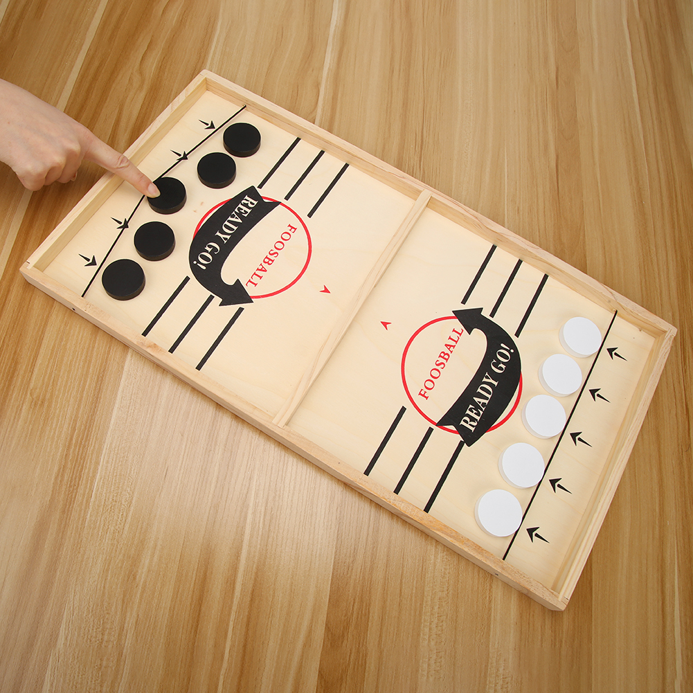 Family Table Ice Hockey Game Catapult Chess Wood Fast Sling Puck Game Toy Chess Parent-child Interactive Toy Fast Sling Puck Gam