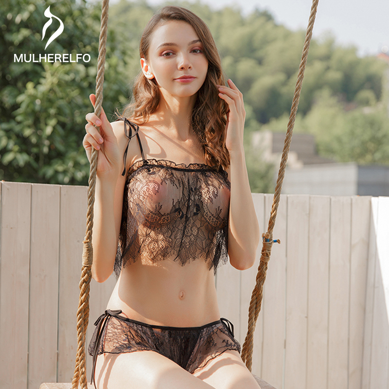 Black Sexy Lace Two-piece Set Short Pyjamas Women Spaghetti Strap Summer See Through Pyjama Femme Temptation Pijama Sexy Mujer