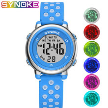 SYNOKE Childrens Watches 2019 Colorful Fashion Student Watch Hollow Silicone Strap Alarm Clock Luminous 50M Waterproof Kid Gift