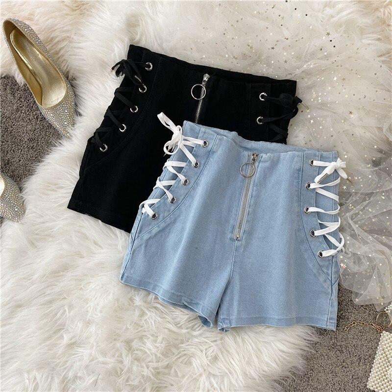 Summer Hot Shorts 2020 Korean Women Slim Shorts Belt Tie Denim Sexy High Waist Joker Basic Shorts Women Denim Shorts For Womens
