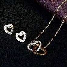 Rhinestone Choker Double Heart Shaped Diamond Clavicle Necklace Golden Set Chain Interlocking Heart Pendant Clavicle Chain flash shaped pendant chain necklace