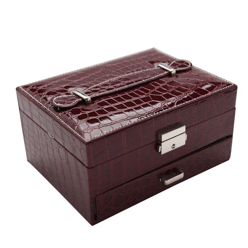Moderne Simple solide PU bijoux boîte de rangement Double-pont tiroir serrure boîte à bijoux mode voyage bijoux boîte de rangement