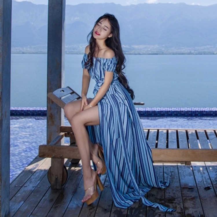 Yeni yaz elbisesi kadınlar Boho çizgili parti elbiseler seksi kapalı omuz bölünmüş tek düğme plaj elbise Sundress LX1662