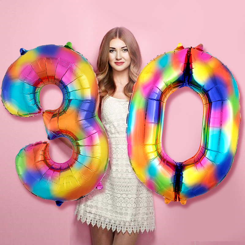 Party Stock 32 Inch Large Foil Birthday Number /& Age Helium Balloons