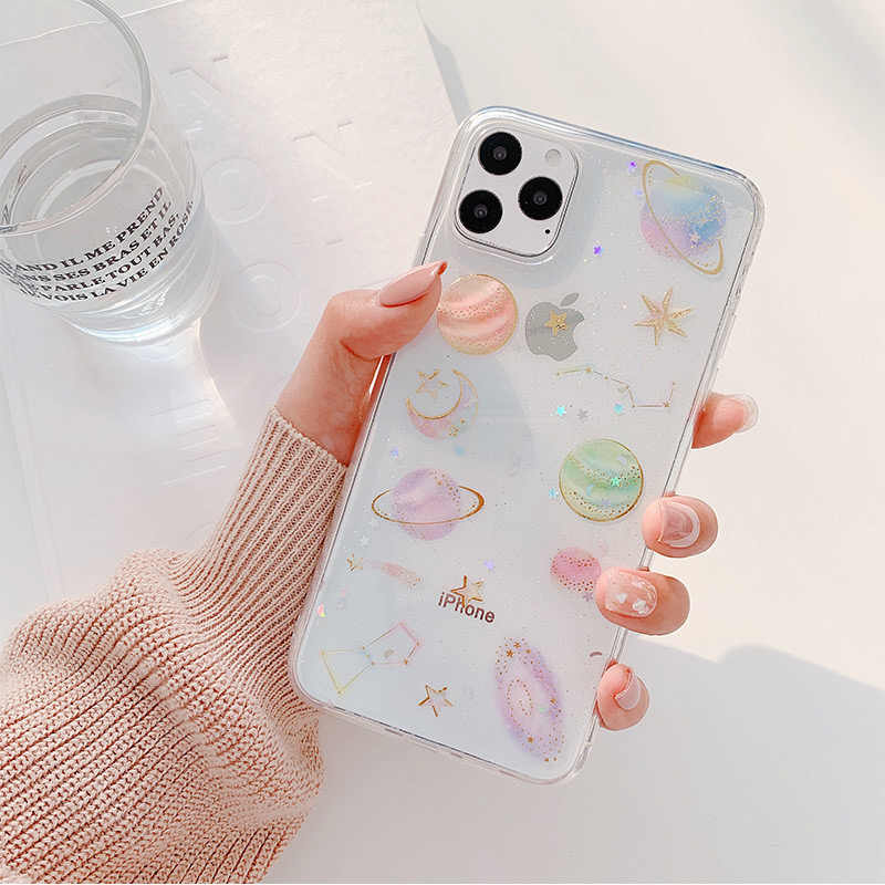 Funda de teléfono móvil de silicona Moskado con brillo y estrellas, Luna y universo para iphone SE 2020 11 Pro Max XR XS X 6S 7 8 Plus