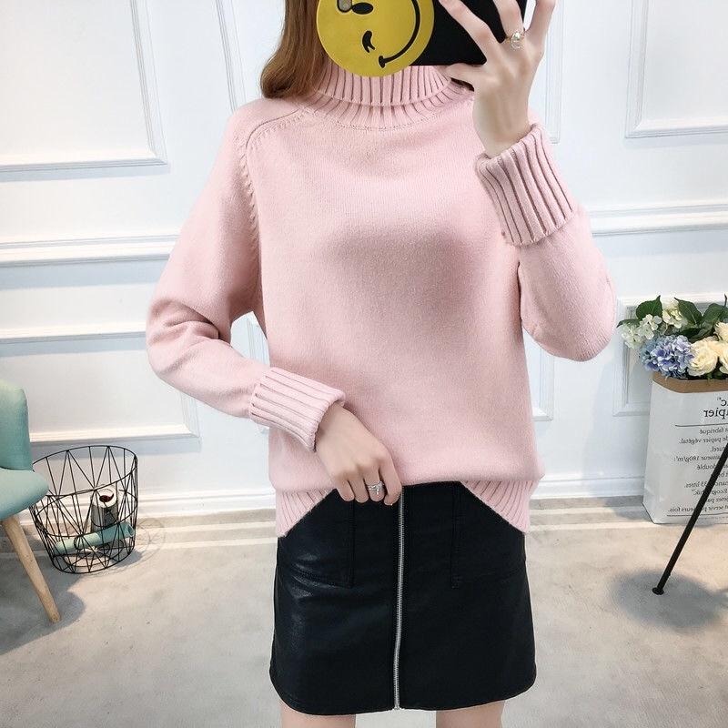 14 цветов,, осенне-зимний свитер, Женский вязаный свитер с высоким воротом, повседневный мягкий модный тонкий женский эластичный пуловер NS9097 - Цвет: Розовый