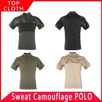 2020 Summer New Design Mesh Camouflage Shirt Male Short Sleeve Breathable Jungle Desert Disguise Outdoor Hunting Military Cloth