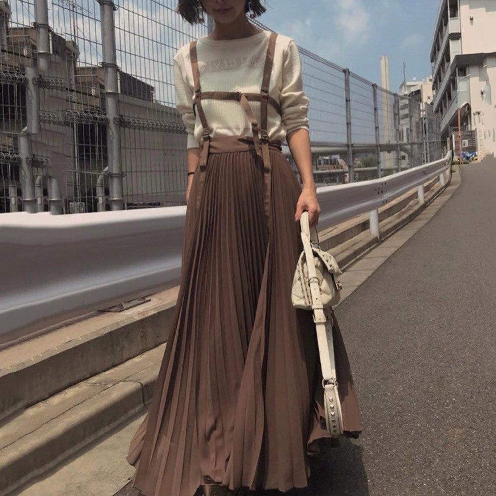 Suspender Pleated Dress Women 2019 Autumn Korean Style Strap Long Dresses Elegant Cusal Vintage Lady Vestidos Robe Brown/Pink