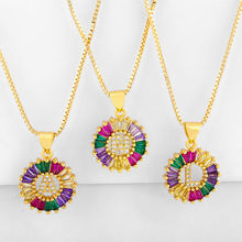 GRAPES Hot Sale Charm Letter Necklace Gold Color Initial Multicolor CZ Name Jewelry For Women Accessories Girlfriend Gi