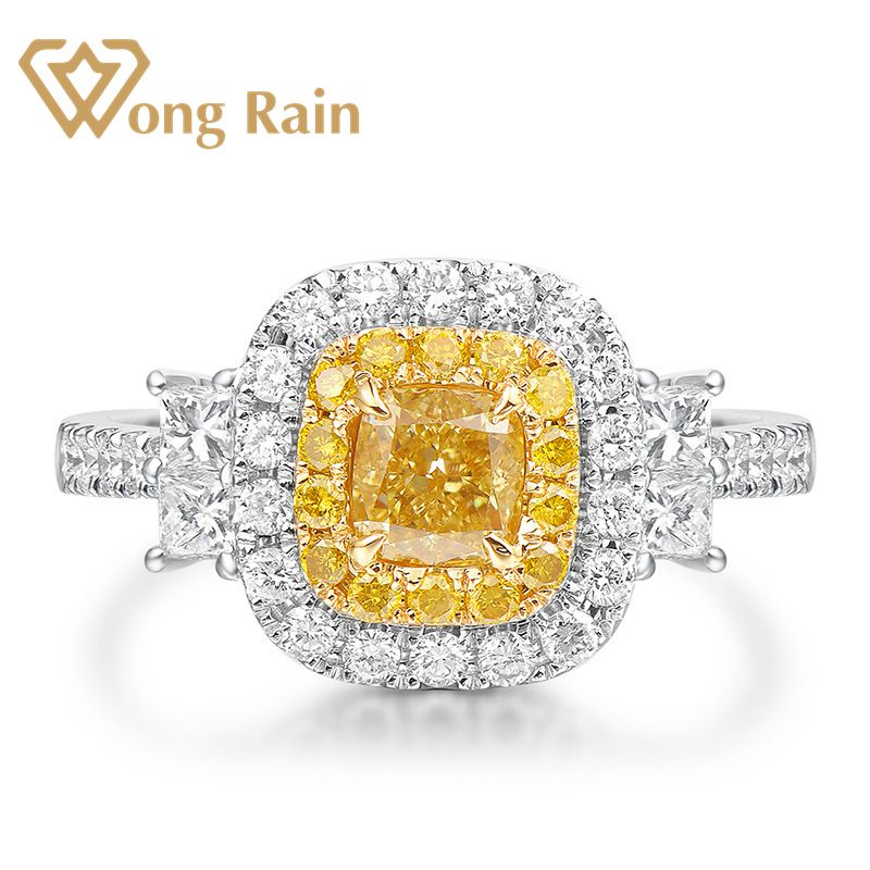 Wong Rain Luxury 100% 925 Sterling Silver Created Moissanite Citrine Gemstone Wedding Engagement Ring Fine Jewelry Wholesale