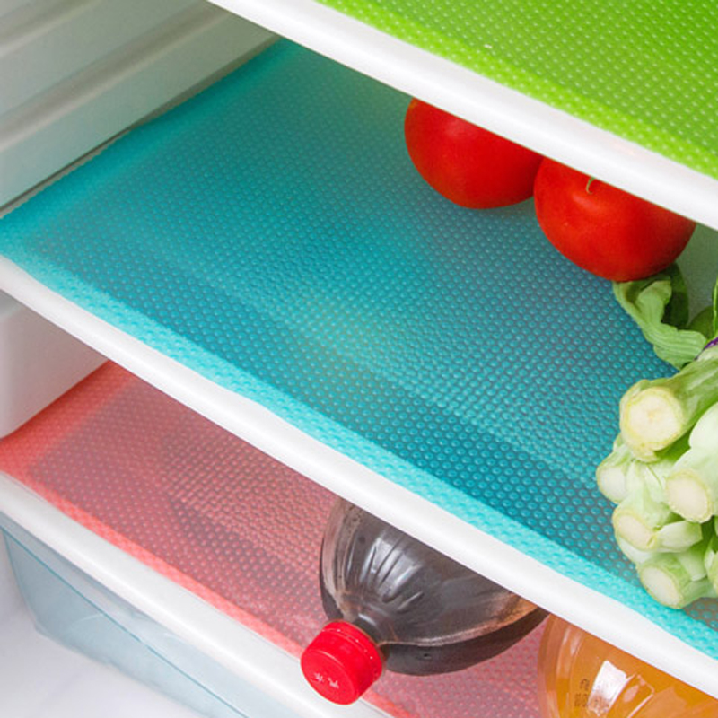 4pcs/set Refrigerator Pad Antibacterial Antifouling Mildew Refrigerator Mats Moistureproof Waterproof Pad Tailorable Fridge Mats 1