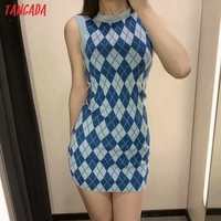 Tangada Fashion Women Plaid Pattern Elegant Sweater Dress Sleeveless O Neck Ladies Mini Dress 3H290 2