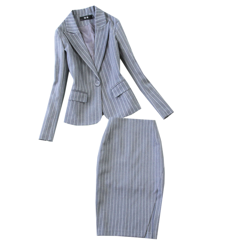 Winter business office women's suits pants suit high quality Casual Slim Gray Striped Blazer Skirt set two-piece female 2019 new