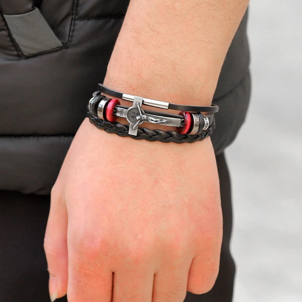Punk multi-layer Jesus cross leather bracelet men's fashion woven bracelet bracelet Suitable for men's multi-layer hand-braided