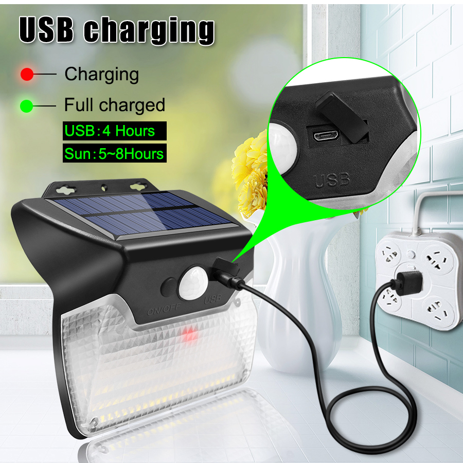 Solar and USB Powered Outdoor Light with 110 LEDs in 3 Lighting Modes and 90 to 120 Degree Sensor Angle 7