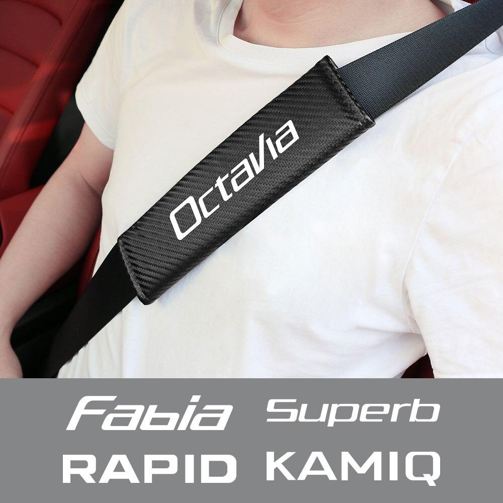 Housse de ceinture de sécurité pour siège de voiture, 2 pièces, emblème de voiture, logo de marque, accessoires pour Skoda Fabia Kamiq Karoq kodiaqia Octavia Rapid Scala Superb