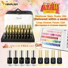 Paleta de cores de verniz venalisa, paleta de cores com glitter brilhante para salão de unha, uv de alta qualidade, 120 peças * 12ml esmalte de unha em gel led